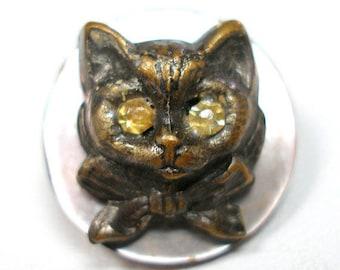 "Antique CAT Button, Victorian Feline with rhinestone eyes, 2/3""."