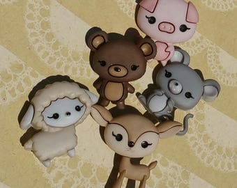 "Animal Cuties Buttons - Cute Stylized Shank Sewing Button - From 1 1/8"" Tall - 5 Buttons"