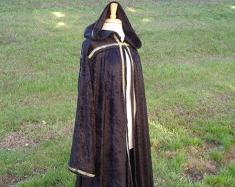 Reserved for Mikey - payment plan for Black with Golden Floral Ribbon - Crushed Panne Velvet Hooded Robe