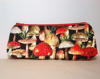 Red Mushrooms - Zipper Pouch - Small Pencil Pen Cosmetic Crochet Hook Bag