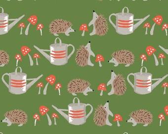 Hedgehogs Poplin Green - Cottage Garden - by Monaluna Organic Fabric -  100% Organic Cotton Poplin CG-03-BLT