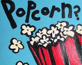 What the Popcorn Hand Painted Notecard