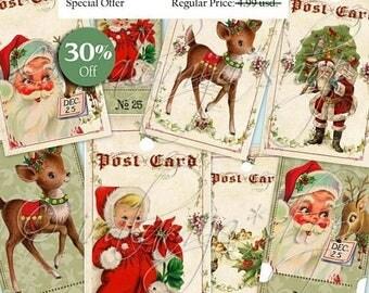 CHRISTMAS CAROL collage Digital Images  -printable download file- Christmas Tags