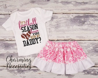 SALE Football Coaches Daughter Top Skirt Set, Football Sister Fan, Baby Girl, Toddler Clothes, Its Football Season Have You Seen My Daddy Pi