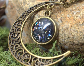 "Necklace Moon by Night - ""Gealaí"" Celtic Moonlight Cristalized"
