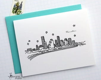 Houston, Texas - United States - City Skyline Series - Folded Cards (6)