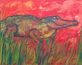 On Guard, Large Alligator, ORIGINAL Mixed Media painting 40 x 30