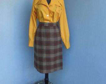 Vintage 1960s Pencil Skirt, Brown Wool Plaid Pencil Skirt, Cigarette Skirt, Hour Glass, Bombshell, Wiggle Skirt