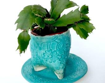 Small Turquoise Ceramic Planter for Succulent Blue