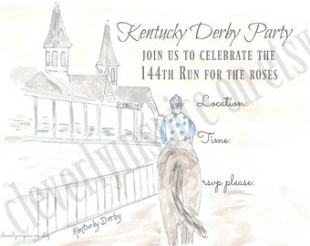Kentucky Derby Party Invitations, Printable, Digital Download, Derby Party, Jockey, horse