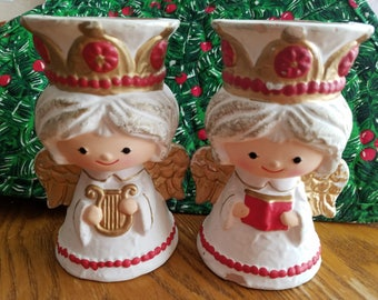 Pair of Homco Angel Candlesticks, Vintage, Kitschy, White Angels with Red and Gold Details, Very Cute