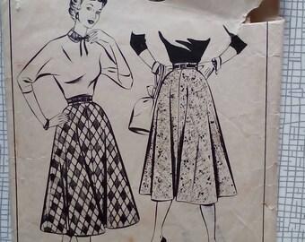 "1950s Skirt & Collar - 26"" Waist - Style 623 - Vintage Sewing Pattern"