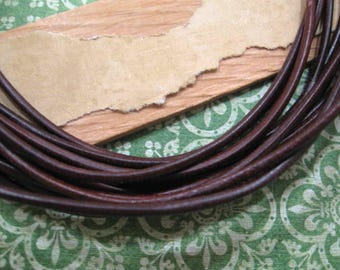 Dark Brown Leather 2mm Round Cord from Germany - One 39 Inch Piece
