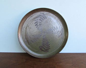 Duke Pottery, Green & Brown Stoneware - Botanical Studio Art Dinner Plate #5166