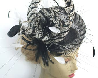 black and white cocktail hat - kentucky derby hat - ascot feather mini hat
