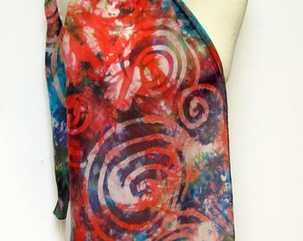 Hand Painted Silk Scarf Red Apple Spiral