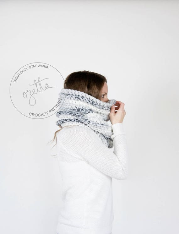 Crochet Pattern / Chunky Textured Ribbed Cowl Tube Scarf