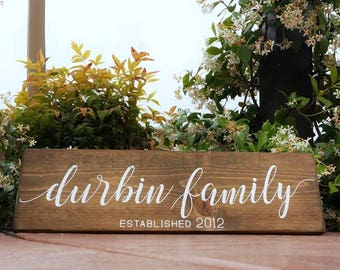 Family Established Wooden Sign - Personalized Family Sign - Wood Sign - Custom Sign - Rustic Family Sign - Modern Rustic Look