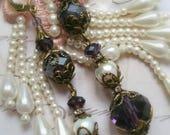 Boucles romantique style  neo victorien violet améthyste