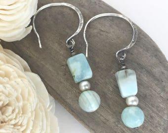light blue dangle earrings, light blue drop earrings, light blue beaded earrings, blue and silver earrings, boho earrings, beaded earrings