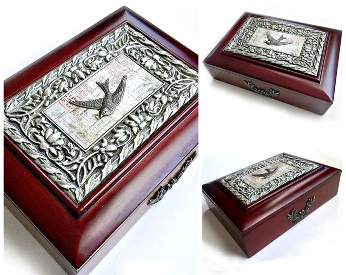 Embellished Bird Jewelry Box, Wood and Pewter Jewelry Box, Bird Jewelry Box, Rosewood Bird Box, Lined Jewelry Box, Bird Dresser Caddy