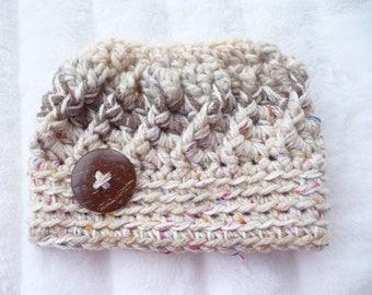 Sparkly Beige Swirl Messy Bun Ponytail Hat Ready to Ship