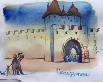 "Place de Prado in Carcassonne; original watercolor 6""x8"" #5"