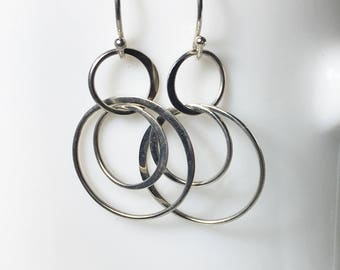 Sterling Dangle Earrings, Silver Circle Drops, Everyday Earrings, Interlocking Hoops, Bridesmaids Gifts
