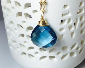 London Blue Quartz Gold Necklace, Layering Pendant, Wire Wrapped Gemstone Briolette, Gold Fill, Gift for Her
