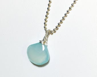 Aqua Chalcedony Pendant, Sterling Silver Solitaire, Briolette Gemstone Necklace