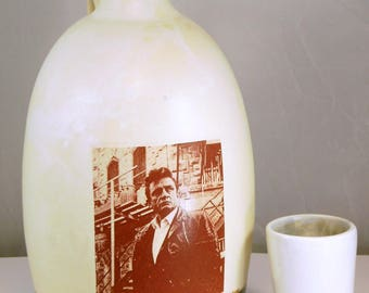 Johnny Cash  beer growler ceramic handmade