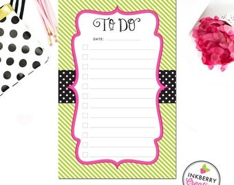 Checklist To-Do Notepad - Polka Dot Stripe - 3 Sizes Available - Small, Medium or Large