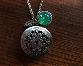 Green Druzy Druzie Feather Antique Silver large Filigree Diffuser Boho Necklace use with Young Living Essential Oils