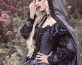 In Stock! Grey and Black Gothic Sleeping Beauty Halloween Medieval Fantasy or Wedding Gown Size Medium