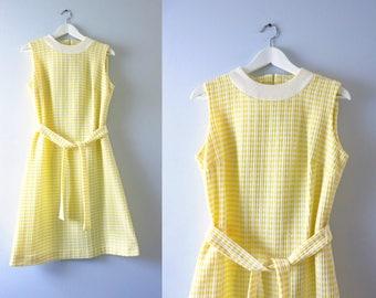 Vintage Mod Yellow Dress | 1960s Yellow & White Striped Summer Dress M/L