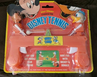 Disney Tennis Small Finger Vintage Retro Toy In Package, Mickey Mouse and Donald Duck