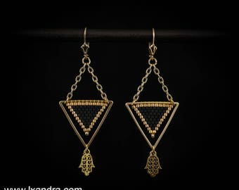 Black Bead Woven Triangle Earrings