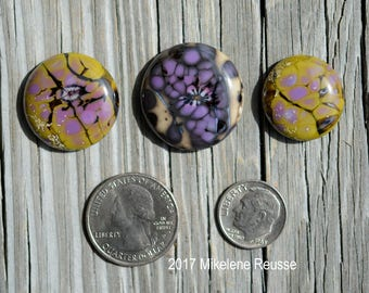 Mossy Forest ....  glass cabochons ... artsy, handmade glass designer cabochons by Mikelene Growing Edge Glass