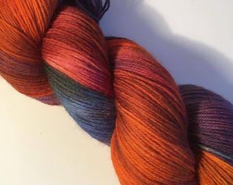 Orange, Purple Teal Hand Dyed 4ply Sock Wool/Nylon Yarn