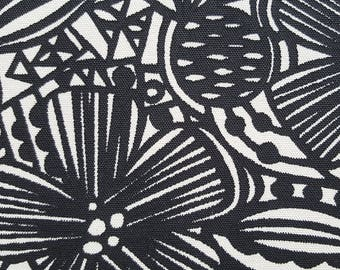 Organic Screenprinted Fabric: Flowers in Black