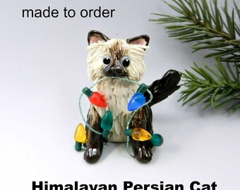 Himalayan Persian Cat Christmas Ornament Figurine Made to Order in Porcelain