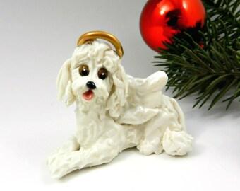 Poodle Angel White Christmas Ornament Figurine Porcelain
