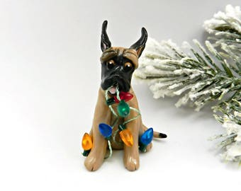 Great Dane Fawn Ornament Christmas Figurine Lights Porcelain