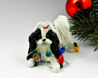 Shih Tzu Black White Christmas Ornament Figurine Lights Porcelain