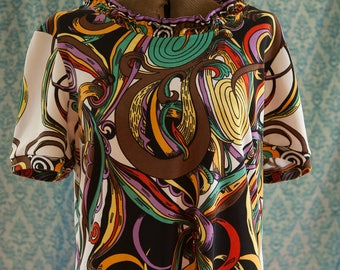 Vintage Dress - Mod Graphics so many Colors Ruffle Neck