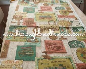 Historic Farm Print - Vintage Fabric Novelty Farming Animals Tools