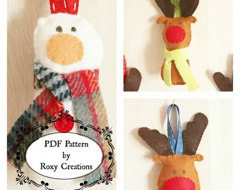 PDF digital sewing pattern instant download snowman and reindeers