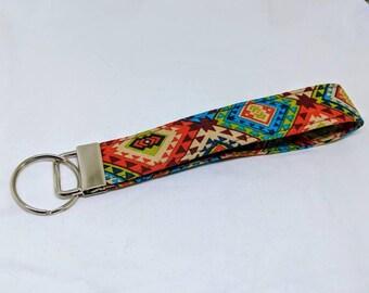 The Rio - Custom Handmade Keychain, Wristlet, Key Fob, Tribal, Colorful, Southwestern