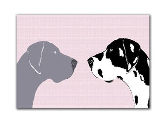 Harlequin Great Dane and Blue Dane  Dogs  -  Fine art print, dog art prints, two dogs, dog decor, black silhouette