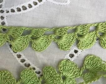 Vintage Spring Green Crochet Decorative Trim